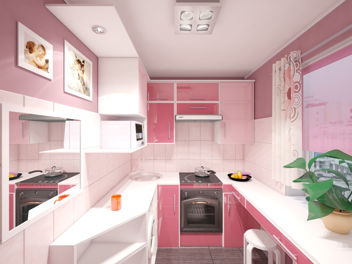 Small kitchen  in  3d max   vray  image