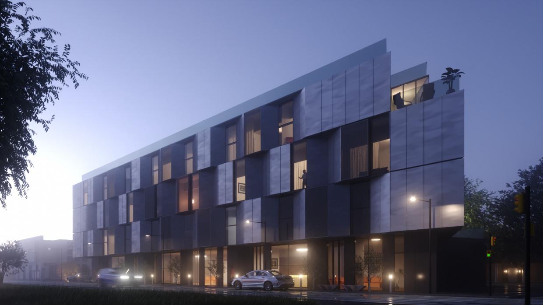 यूरोप में कहीं होटल Cinema 4d corona render में प्रस्तुत छवि