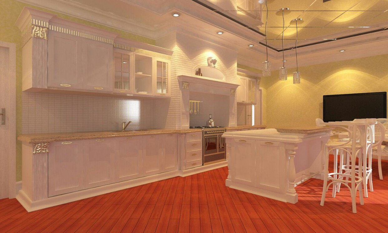 Классическая кухня в 3d max vray 2.0 изображение