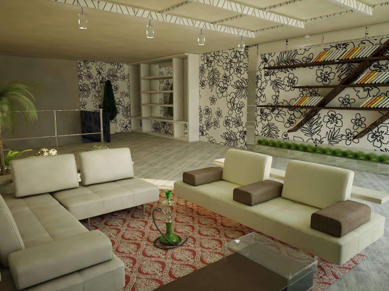 Recreation room  in  3d max   vray  image