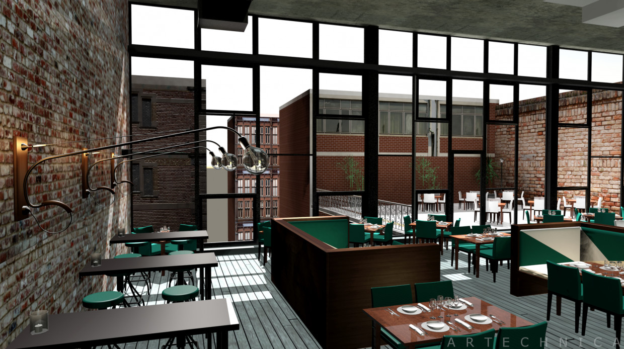 Bar Restaurant in 3d max mental ray image
