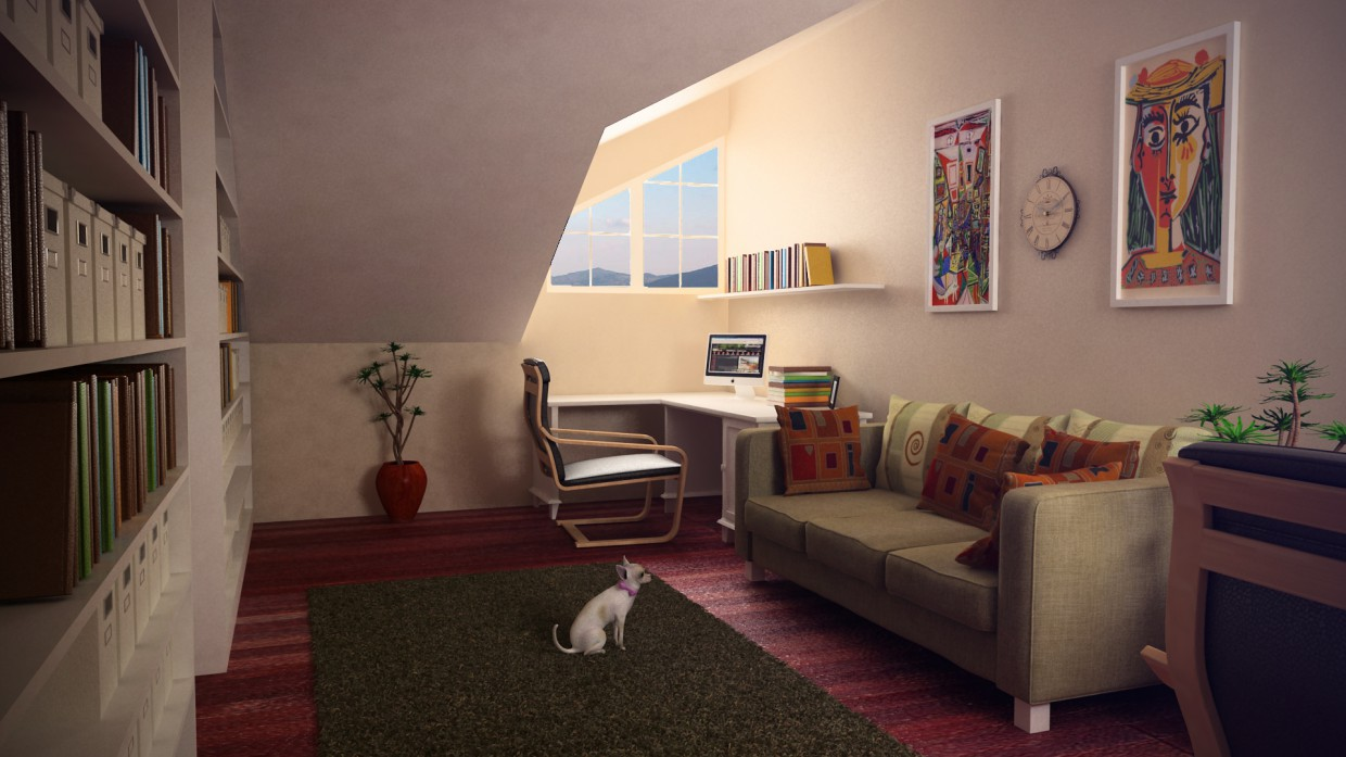 Home office in 3d max vray image