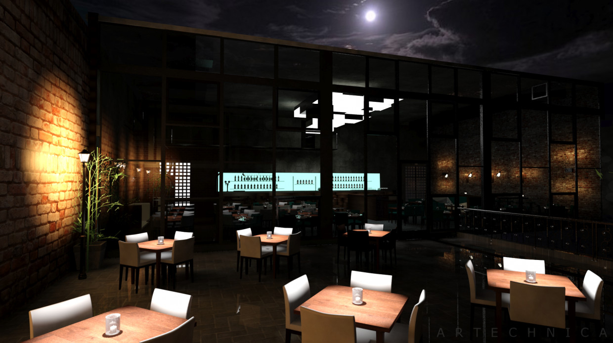 Rooftop Bar in 3d max mental ray image
