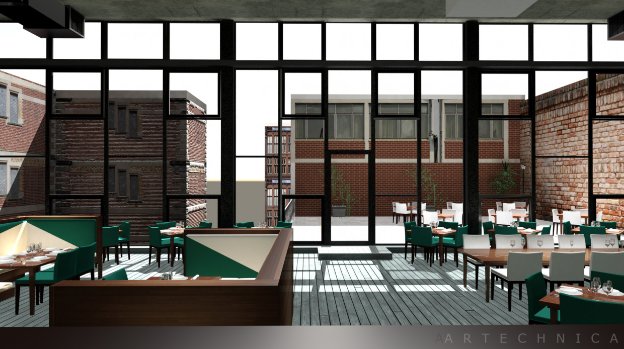 Rooftop Bar and Restaurant in 3d max mental ray image