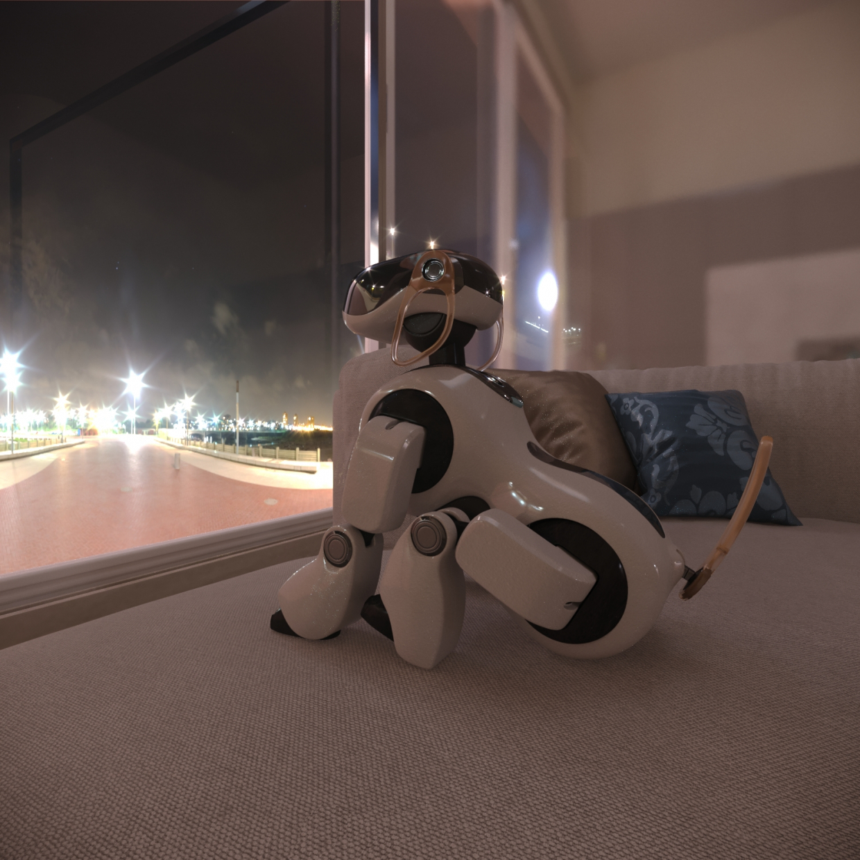 Aibo is not sleeping in 3d max corona render image