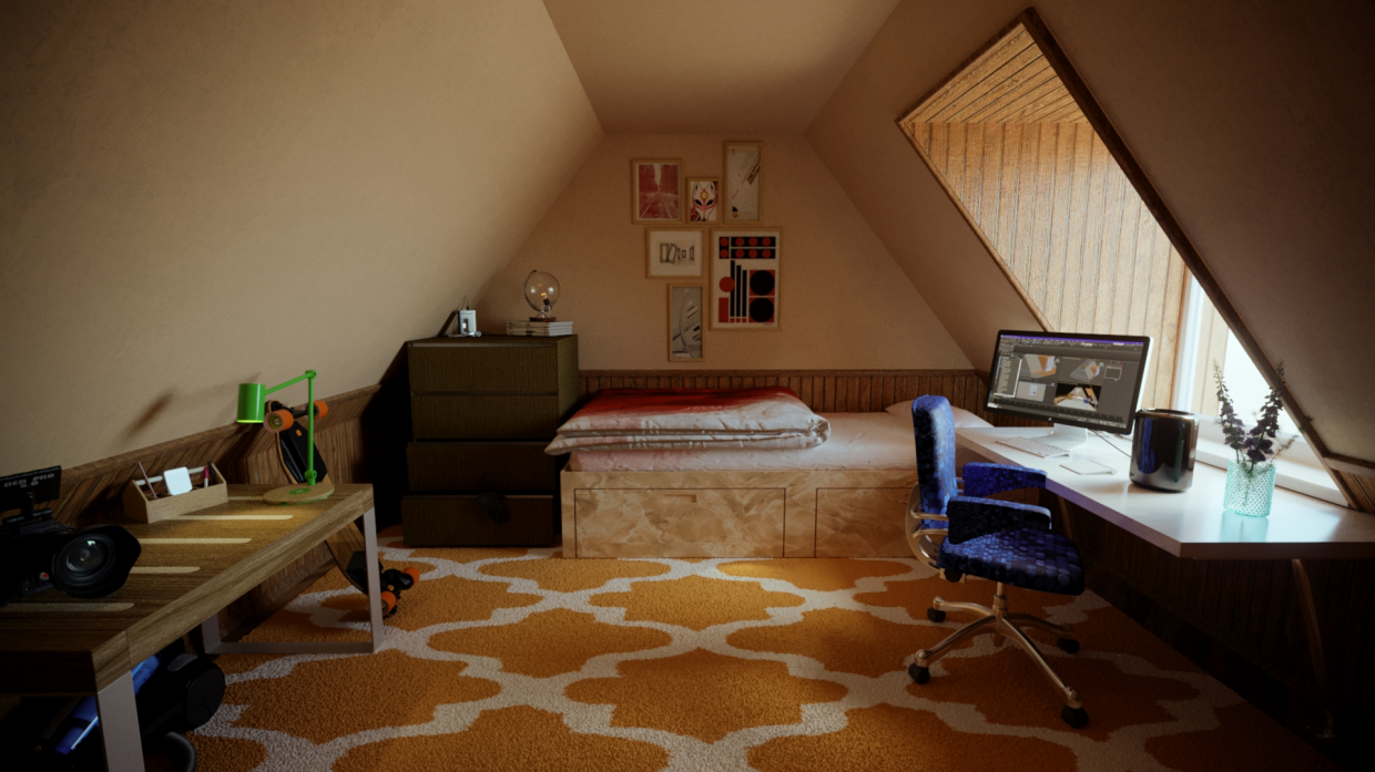 Attic room in 3d max corona render image