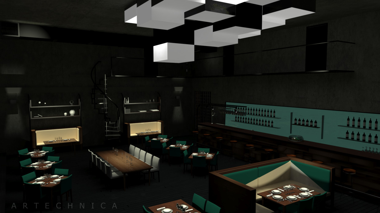 Bar-Restaurant in 3d max mental ray image