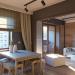 Küche mit kleinem Wohnzimmer