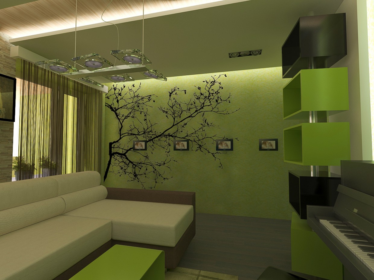 The green room in 3d max vray image