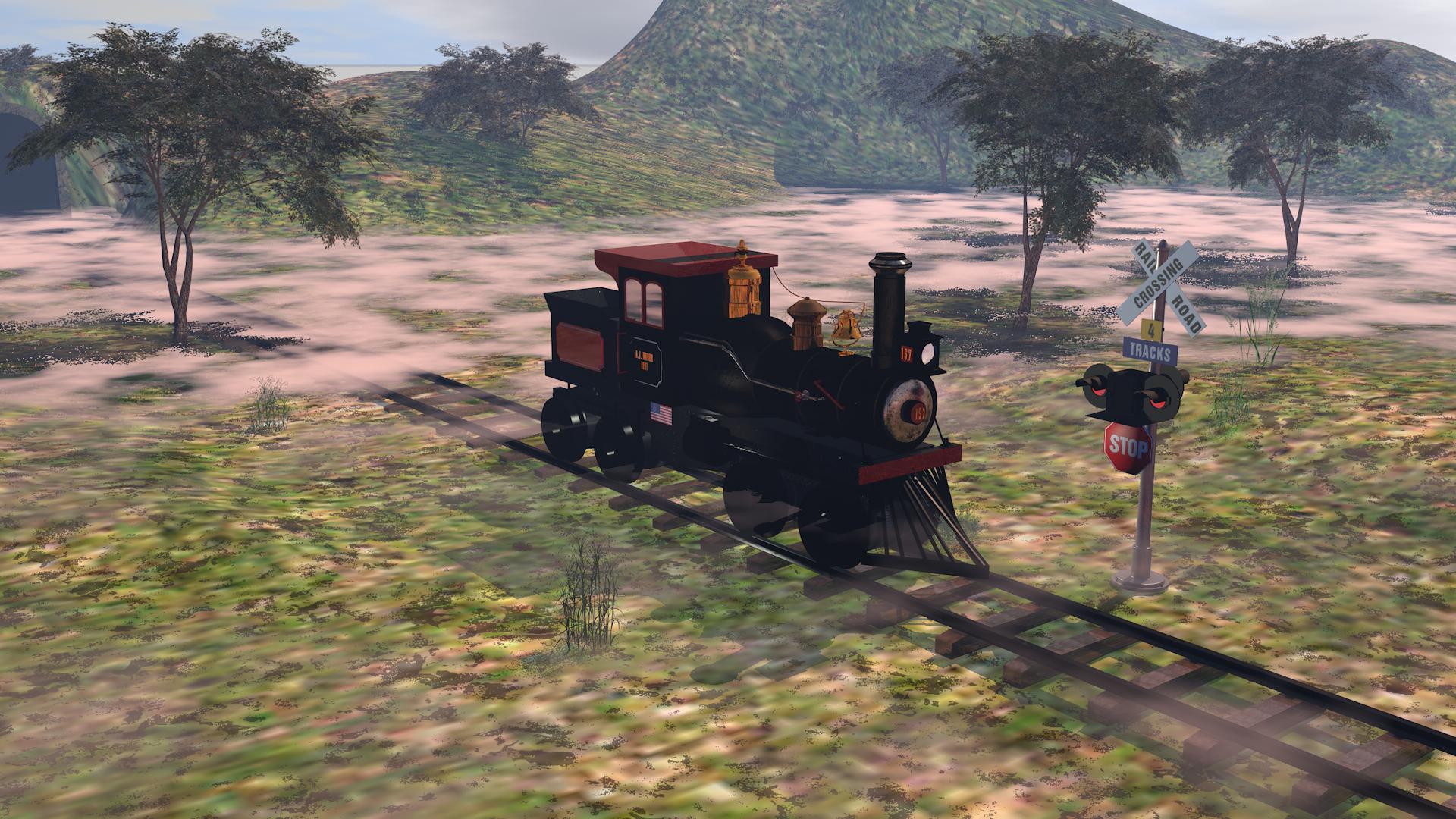 steam locomotive railway in Cinema 4d maxwell render image