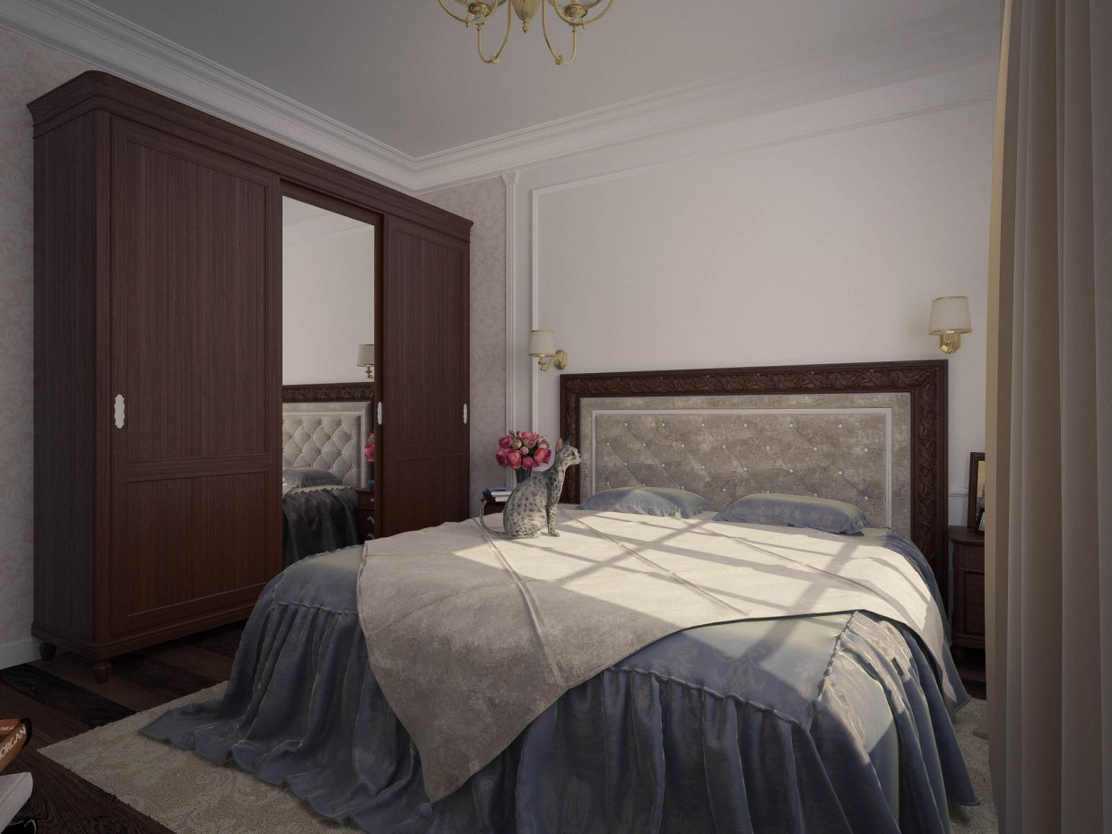 Bedroom for an elderly person  in  3d max   vray  image