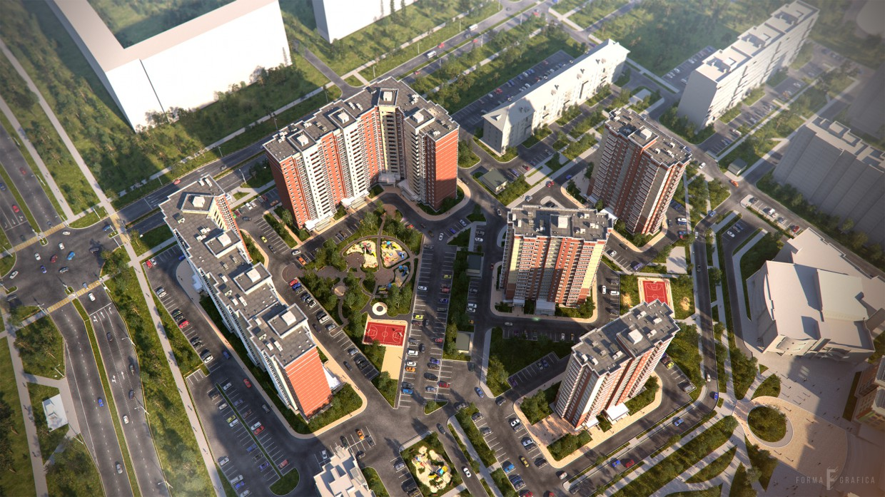 "The residential complex ""Cozy"" in 3d max corona render image"