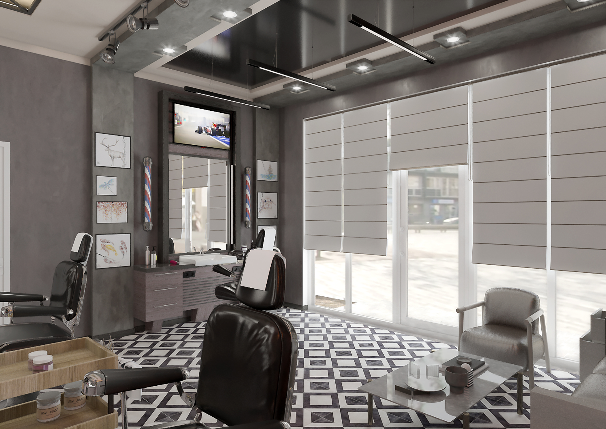 Barbershop in 3d max vray 3.0 image