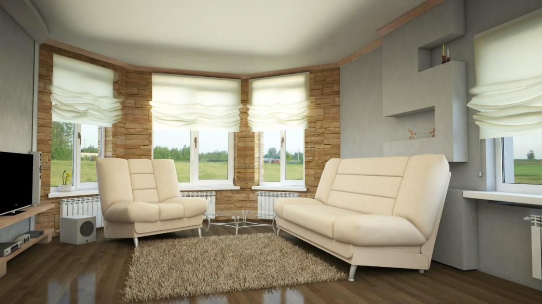 Теплая гостинная в 3d max vray изображение