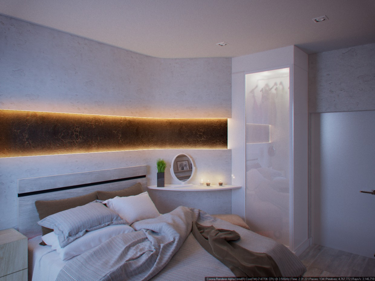 Bedroom  in  3d max   corona render  image