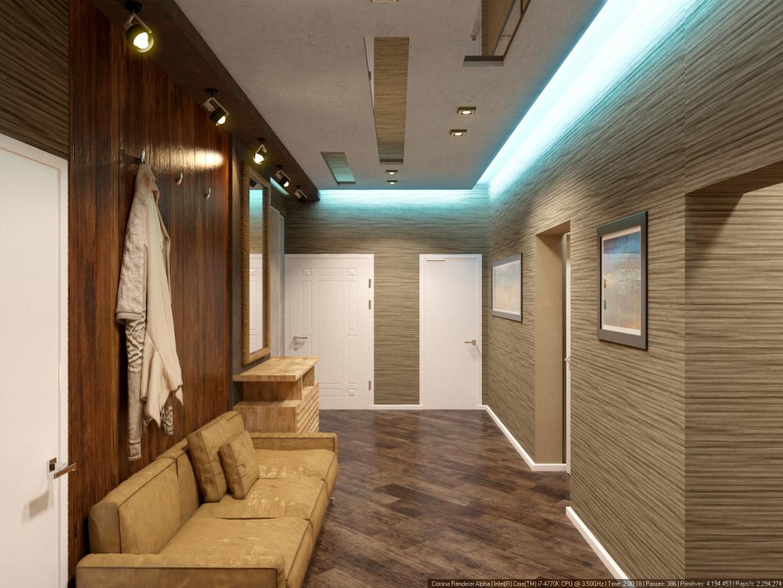Corridor in 3d max corona render image