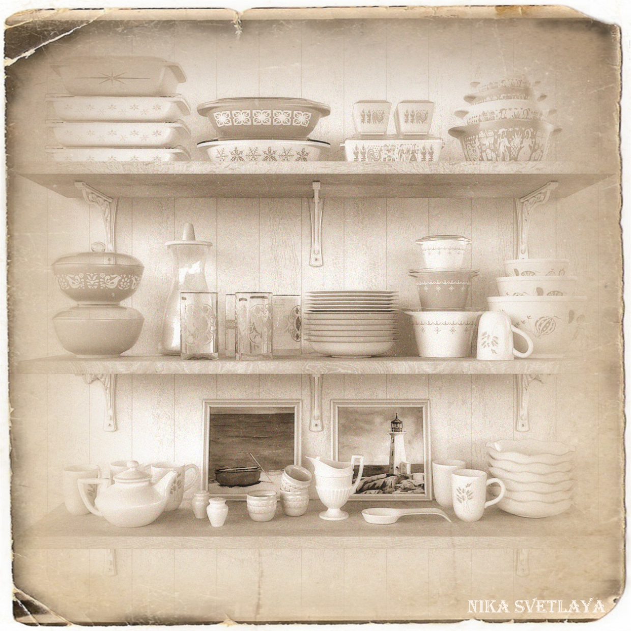 Set of vintage dishes Purex. in 3d max corona render image