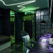 room for a teenager with cyberpunk elements in 3d max corona render image