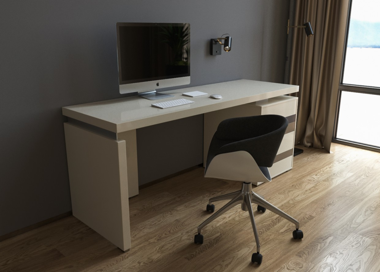 Visualization of a desk and a dressing table in 3d max corona render image