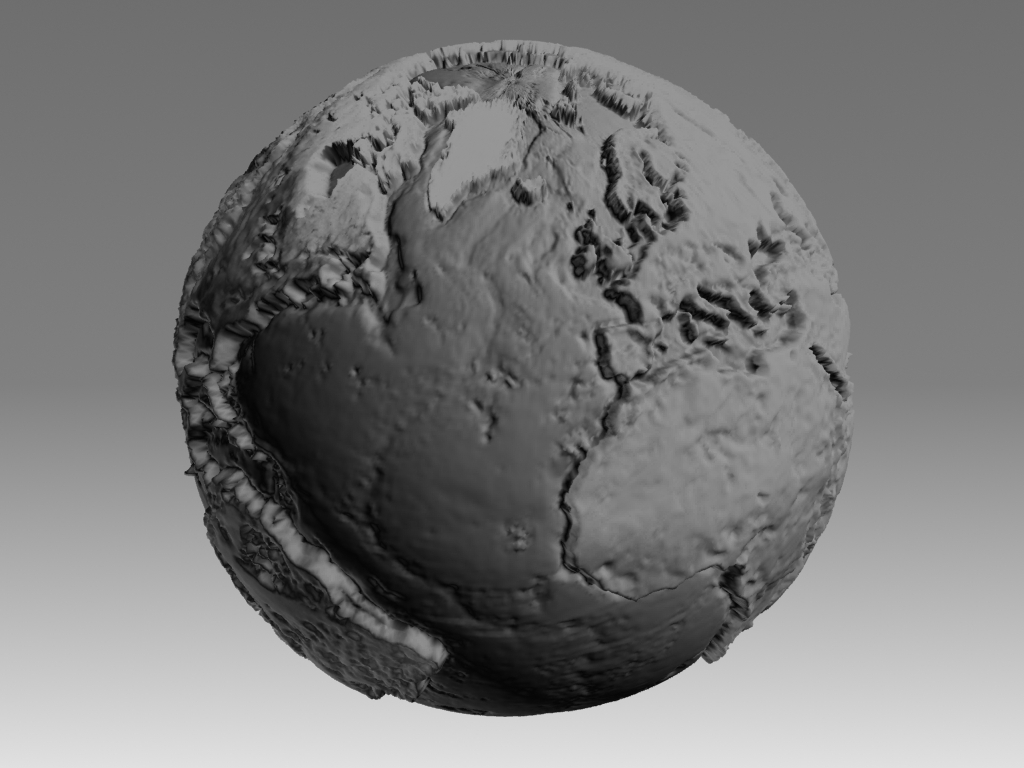 Mapamandi 3D to scale with topographic relief in 3d max mental ray image