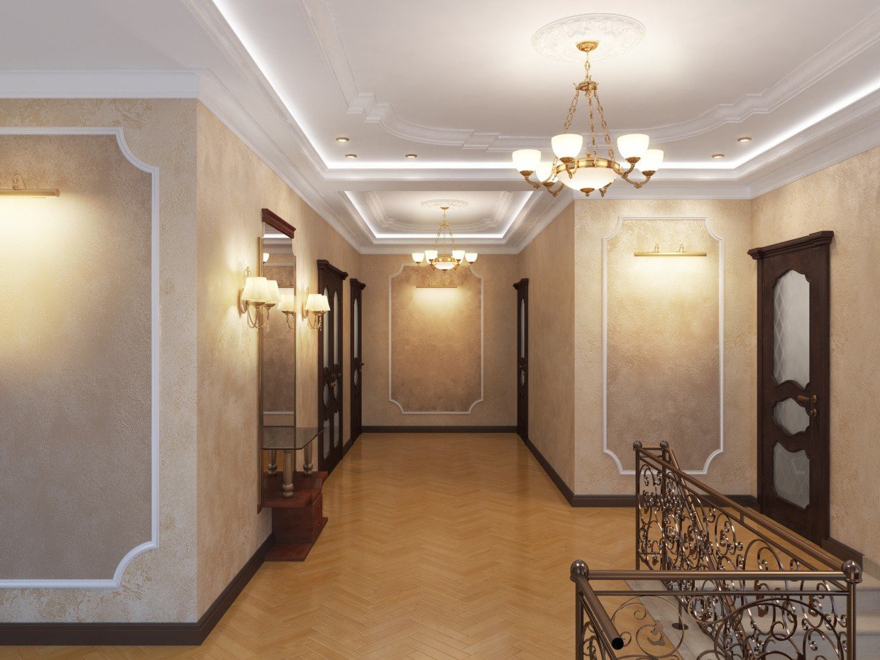 Classic hall  in  3d max   vray  image