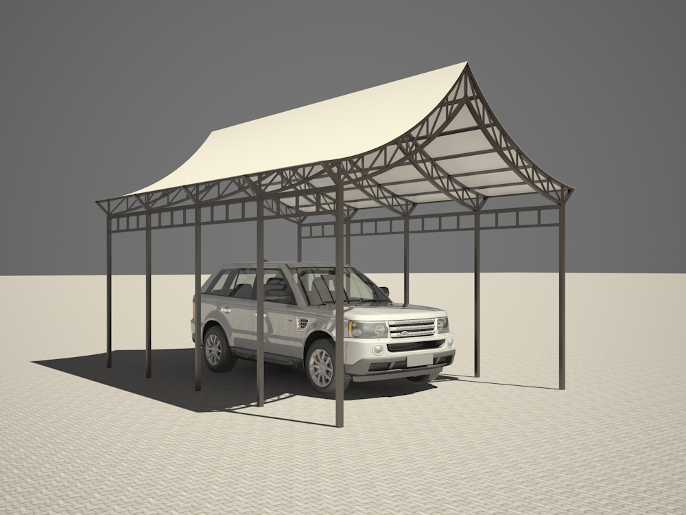Car shed in 3d max vray 2.5 image