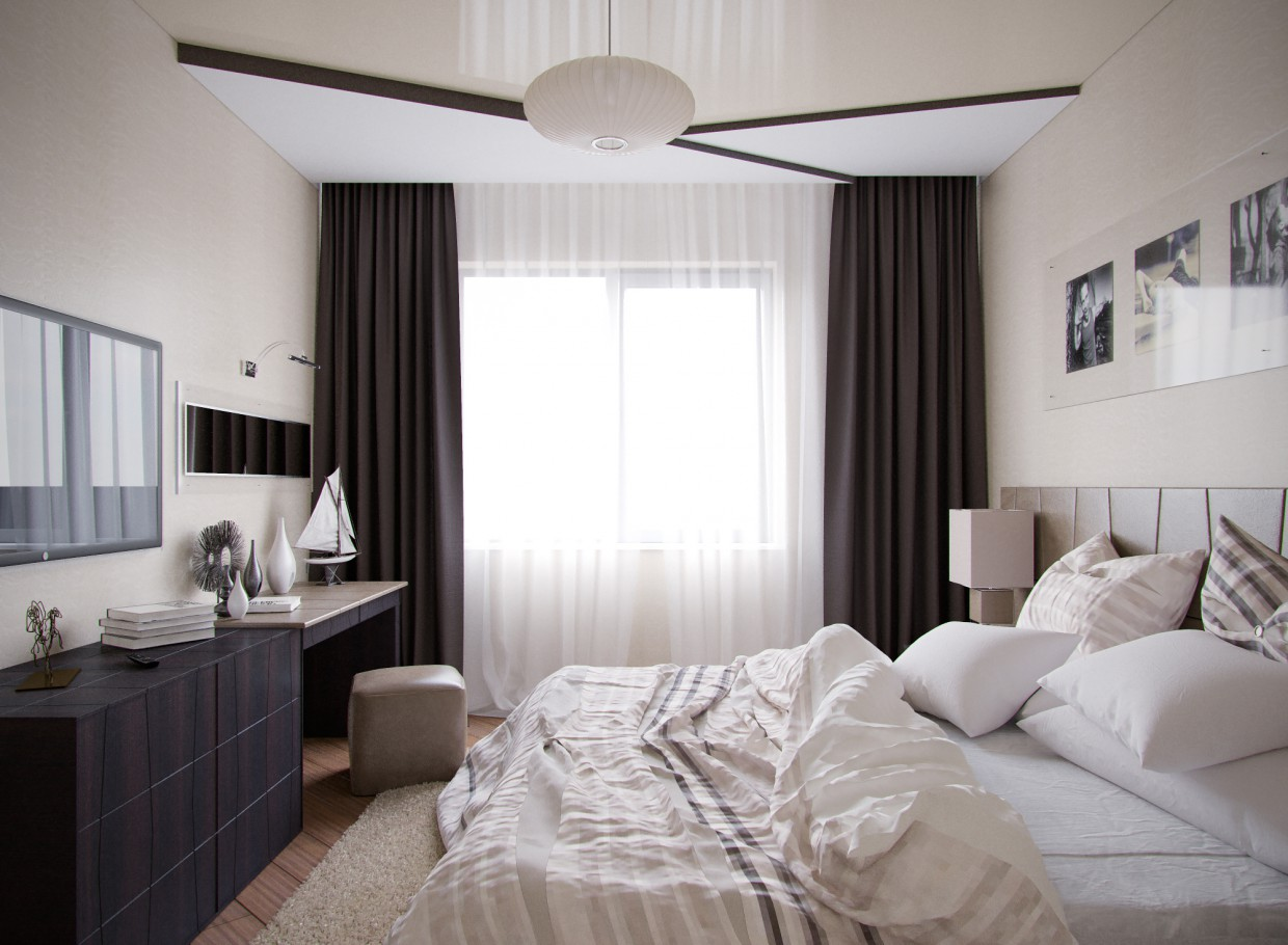 3d visualization of the project in the Bedroom Fusion 3d max, render corona render of Conceptvision