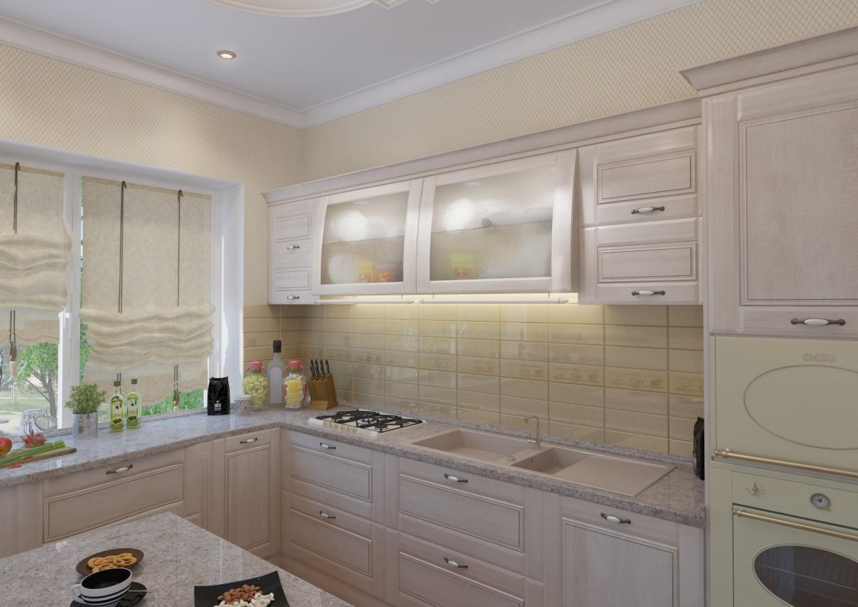 क्लासिक रसोई 3d max vray में प्रस्तुत छवि