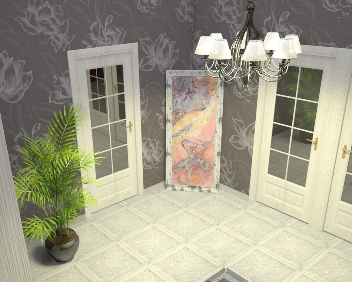 The hallway in the dark tones in 3d max vray image