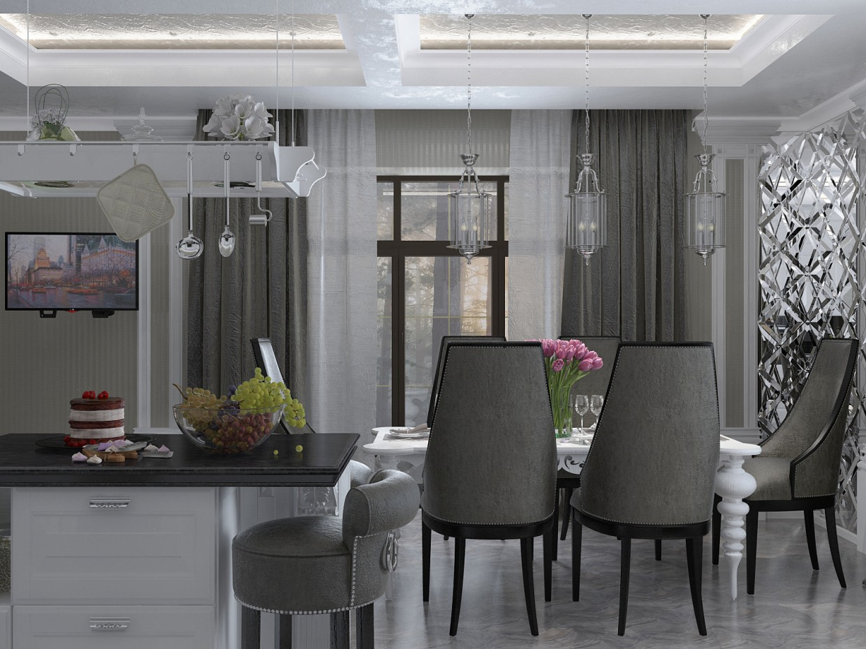 3d visualization of the project in the Kitchen-dining room in a country house. 3d max, render vray 2.5 of Сиднева Дарья