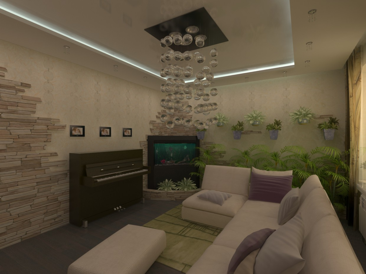 3d visualization of the project in the Greem room 2 3d max, render vray of grin-81