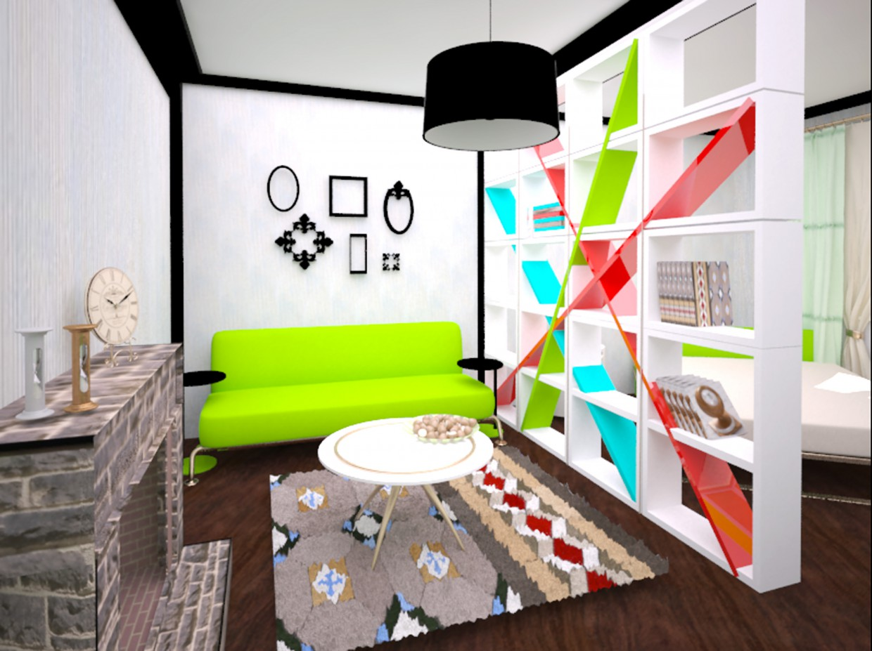 room 2 in one in 3d max vray image