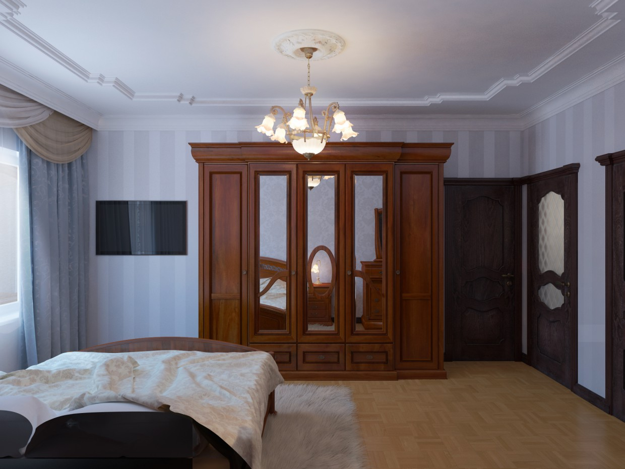 3d visualization of the project in the Classic Bedroom 3d max, render vray of winter