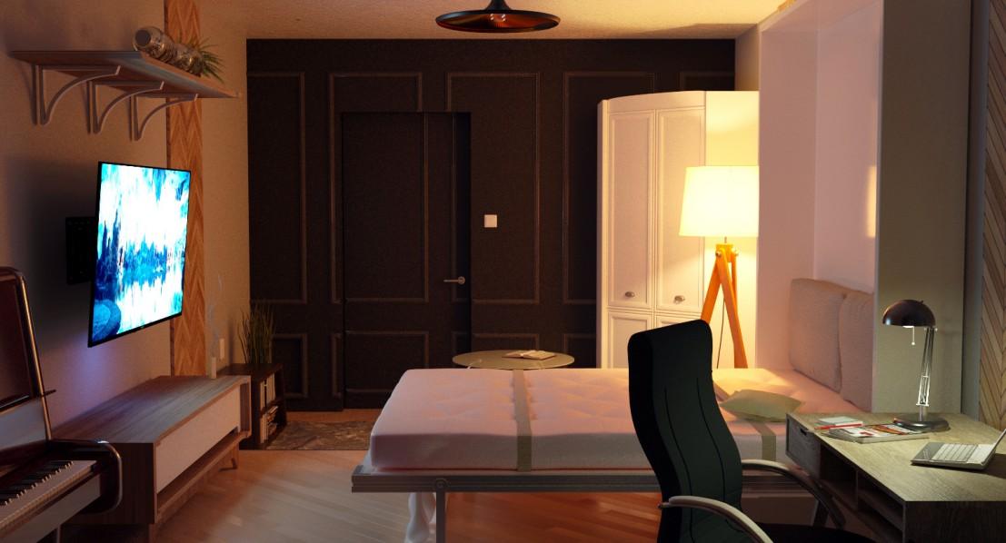 visualización 3D del proyecto en el Apartamento Chelyabinsk 3d max render corona render TreeDogNayt