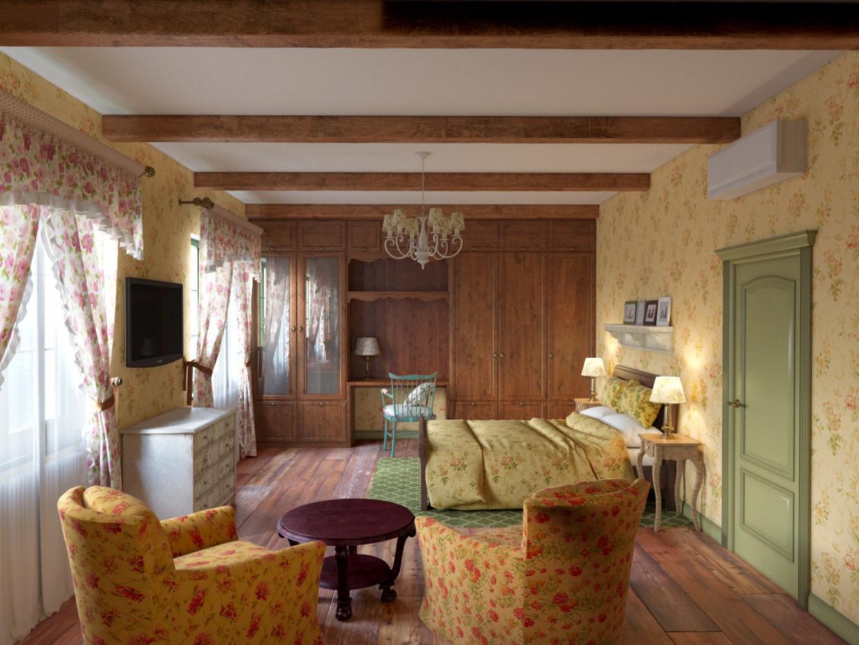 visualización 3D del proyecto en el Dormitorio 3d max render corona render winter