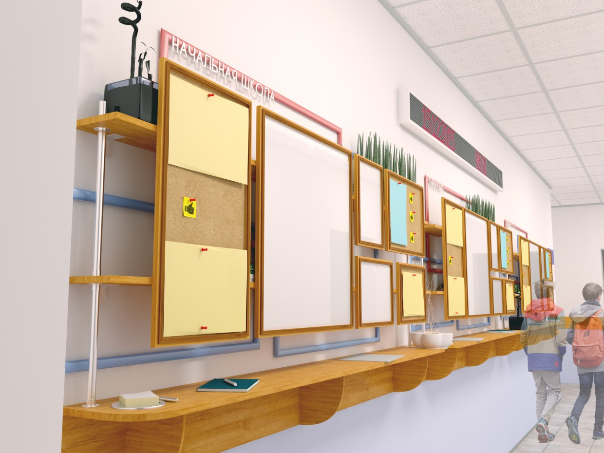 The school entrance in 3d max vray image