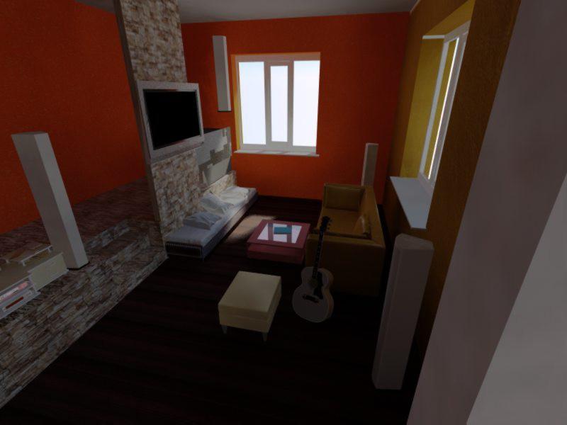 Квартира студио в 3d max vray изображение