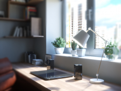 3d visualization: office in the apartment
