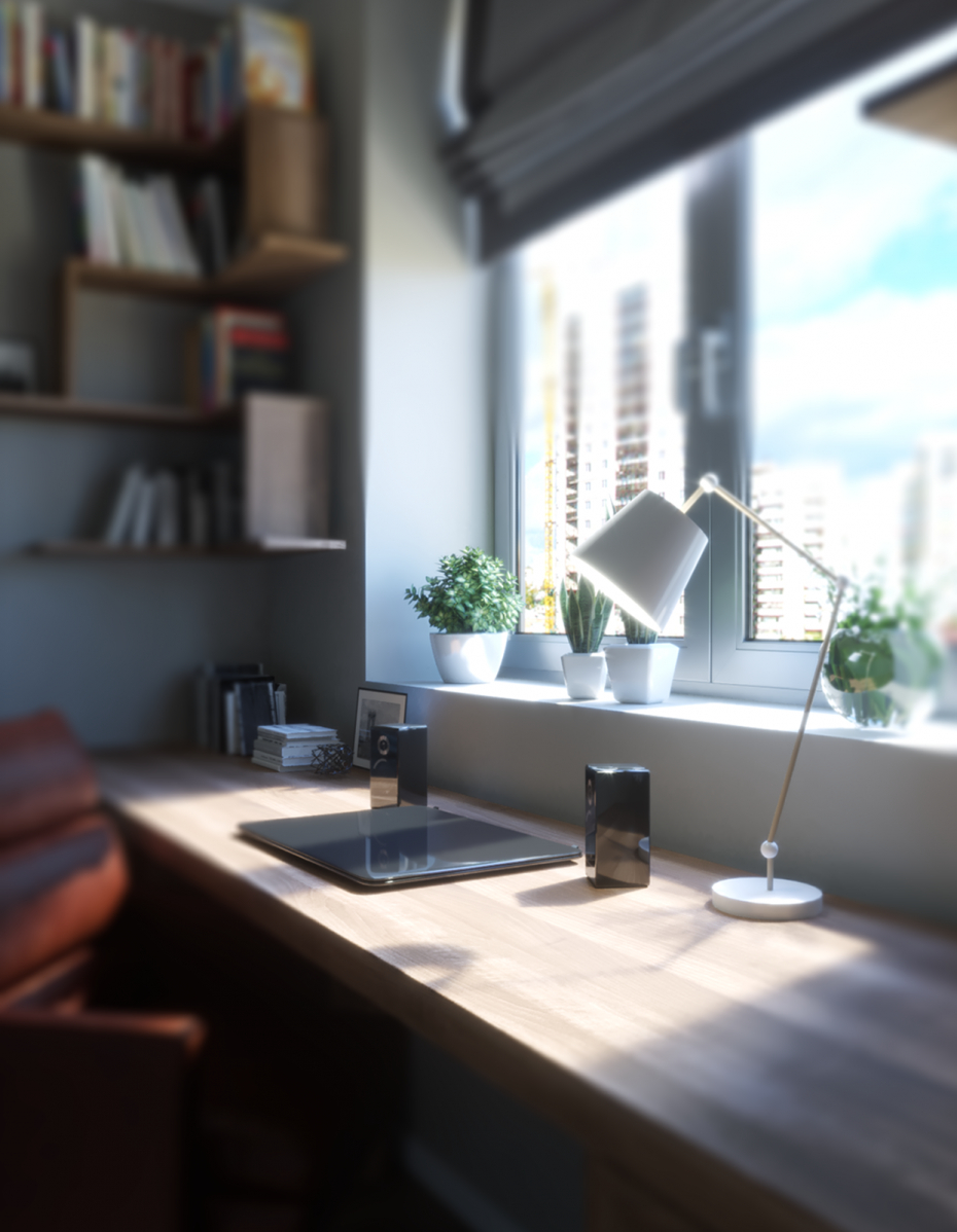 3d visualization: office in the apartment in 3d max corona render image