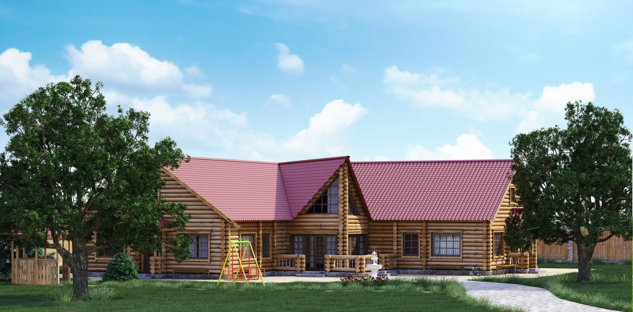 Private log cabin in 3d max vray image