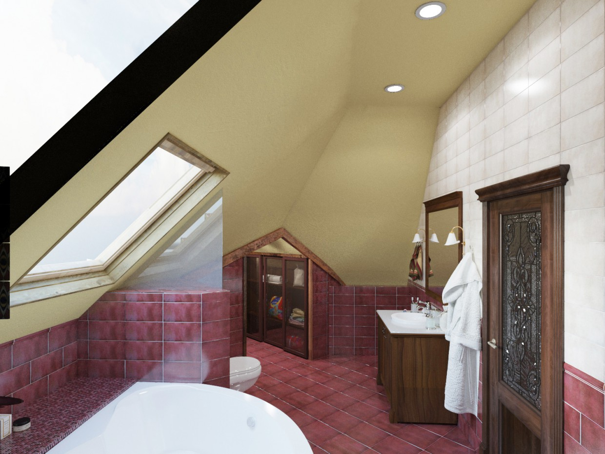 3d visualization of the project in the Classic - Bathroom 3d max, render corona render of winter