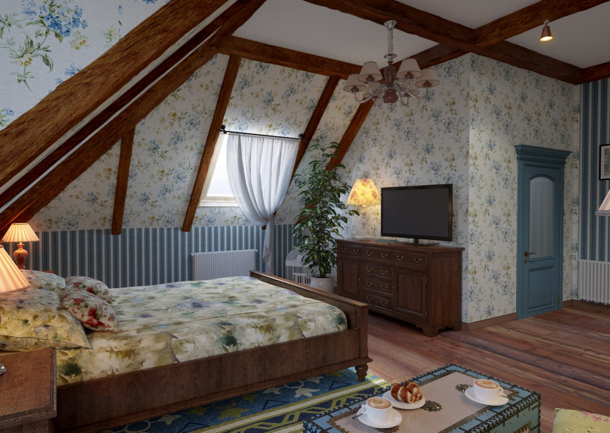 3d visualization of the project in the Classic Bedroom 2 Corona 3d max, render corona render of winter