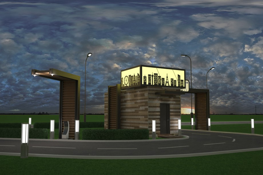 Drive Thru Cafe in 3d max vray image