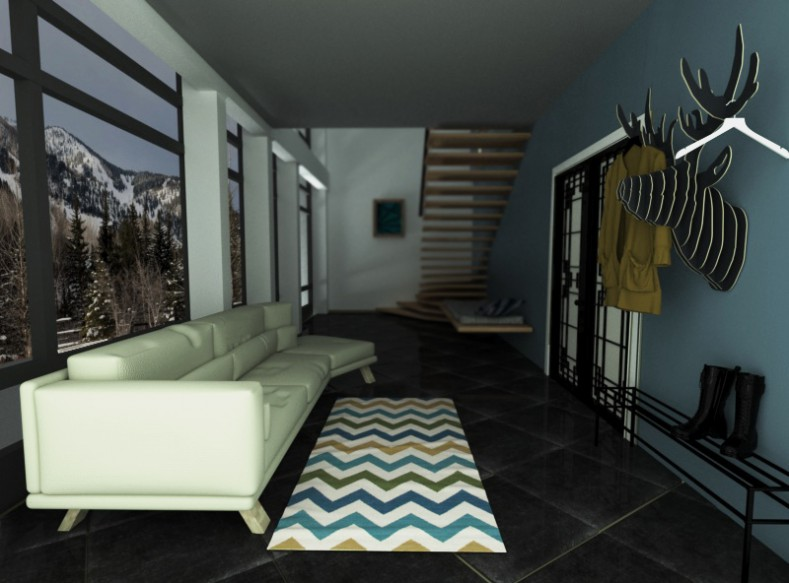 Entrance hall, kitchen and living room in 3d max corona render image