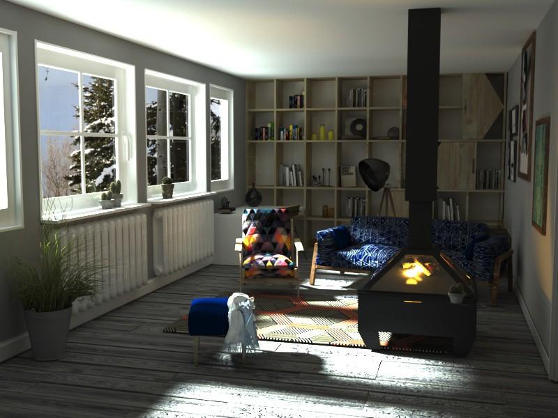 Прихожая, кухня и гостинная в 3d max corona render изображение