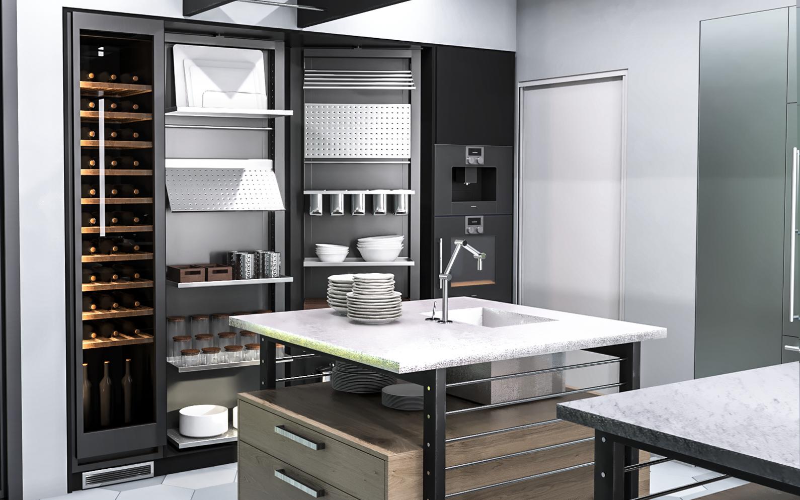 Eggersmann Works Kitchen Visualization in 3d max corona render image