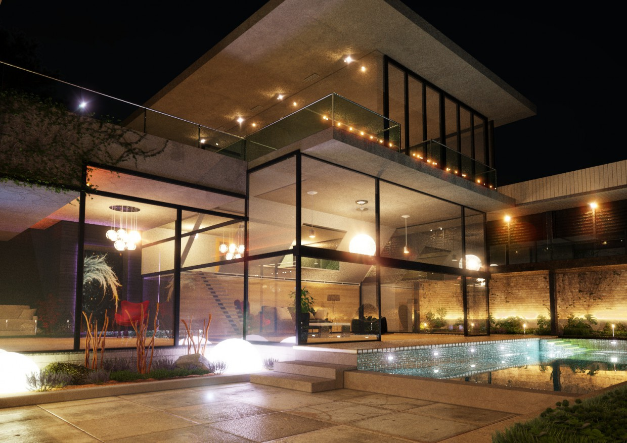 Exterior Night in 3d max corona render image