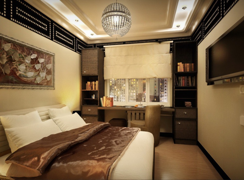 Bedroom in a two-room apartment series p-111m in Cinema 4d vray image