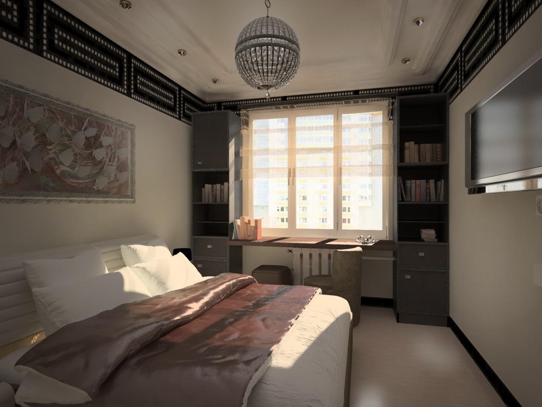 спальня в двокімнатній квартирі серії п-111м в Cinema 4d vray зображення