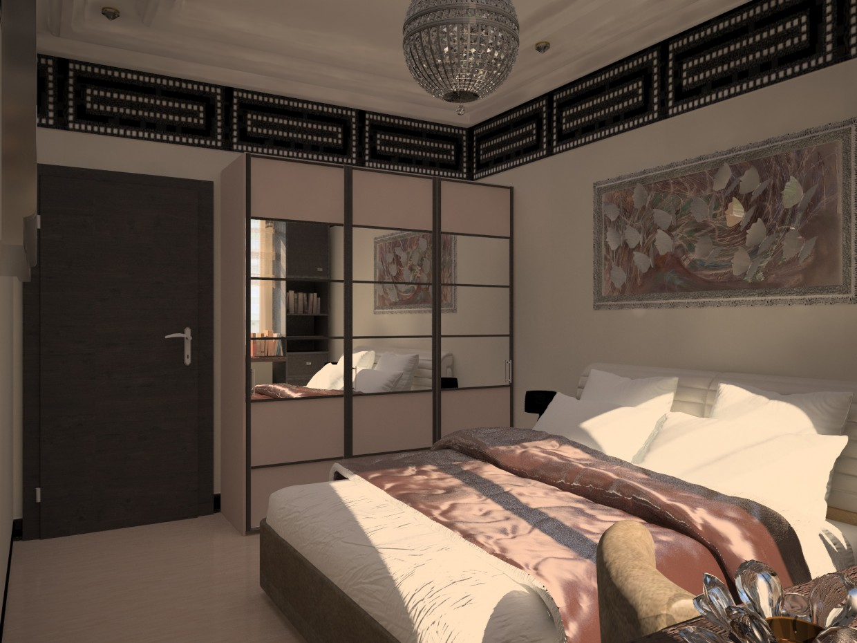 imagen de dormitorio en un apartamento de dos habitaciones serie p - 111m en Cinema 4d vray